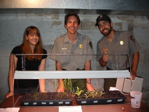 Laura, Ranger Tom, and Ranger Gabriel with our native plants!