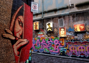 Street art by Shepard Fairey and other artists on Hosier Lane